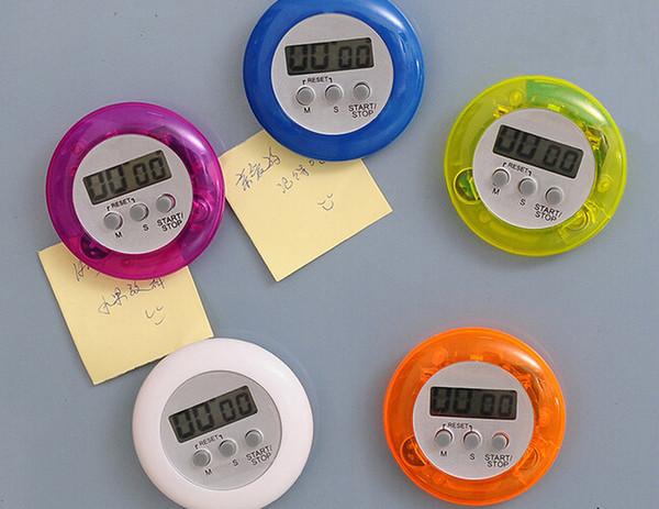 Novedad Digital Kitchen Timer Cooking Helper Mini Digital LCD Forma redonda Electrónica Cuenta atrás Clip Temporizador Alarma