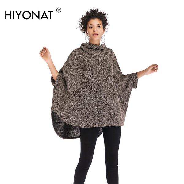 Hiyonat Langer Mantel Pullover Frauen Herbst Rollkragen Damen Pullover Strukturierte Strick Warme Cape Pullover Ethnische Flügelhülsen Tops