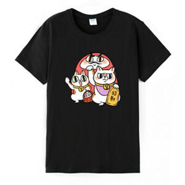 Cartoon Fortune LuWholesaley Cat Prints T-shirt Short SWholesaleve Round NeWholesale Summer Tops Tee