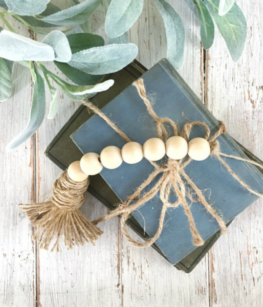 best selling Tassel Natural Wooden Bead Garland Northern Europe Nursery Home Décor Hand Made Wood Chain for Wall or Clothes Rack Decoration