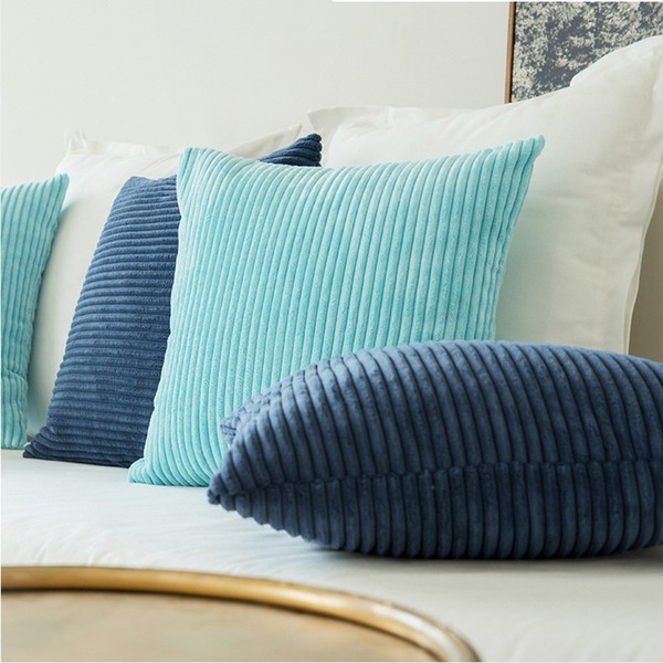 High Quality Soft Velvet Cushion Cover Solid Pillow Case Corduroy Flocking Stripe Yellow Gray Pink Home Decorative Pillow Covers