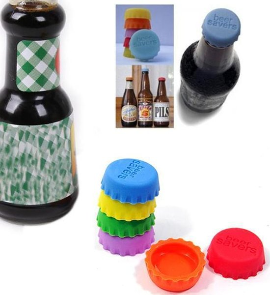 Multifunctional 6pcs Creative Beer Silicon Bottle Cap Top Bottles Stopper Lid Cover For Wine Liquor Kitchen Bar Tools Closures