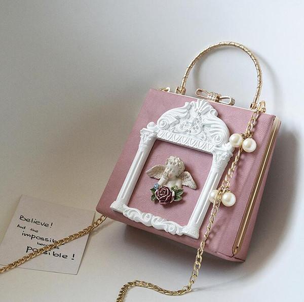 Factory outlet brand women handbag Lovely 3D angel women handbag sweet lovely pearl chain bag exquisite diamond shoulder bag