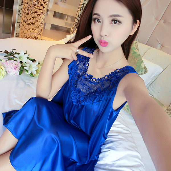 Sexy Women Sleepwear Summer Sleeveless Lace Ice Silk Satin Night Dress Smooth Nightwear Satin Nightgown Loose Large Size