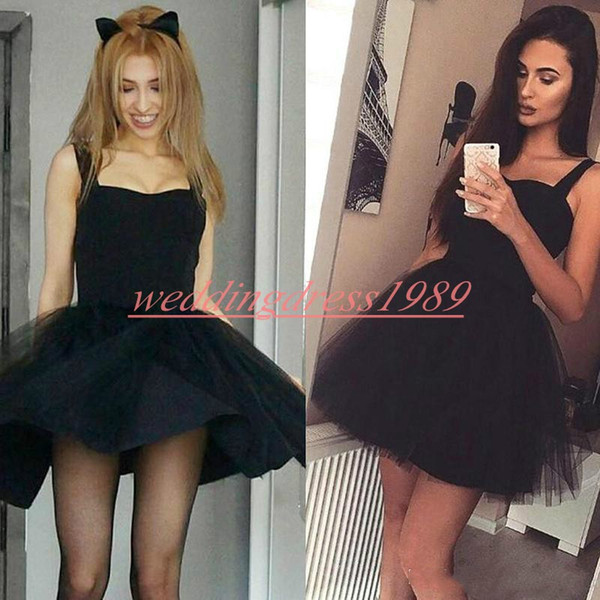 Moda Tulle Brevi abiti da ritorno a casa Litter Black Dress Skirt Lunghezza al ginocchio Economici A-Line Short Prom Dress Juniors Cocktail Party Club Wear