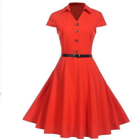 Women dress Vintage Short Sleeve button bandage party dress 2019 Summer Style robe femme sexy dress woman clothing Vestidos