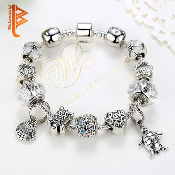 USpecial Fashion Tortoise Love Heart Charms Bracelets&Bangles Clear Murano Glass Beads Bracelets For Women DIY Jewelry Pulseiras Wholesale