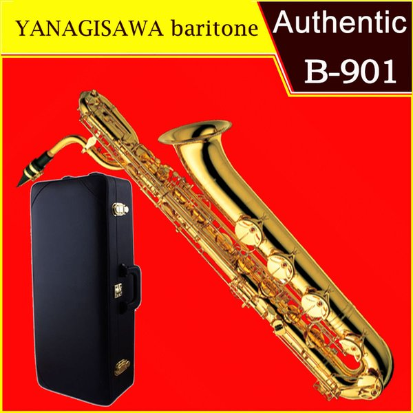 Baritone Saxophone YANAGISAWA B901 B Electrophoresis Gold Baritone Sax  Professional Musical Instruments With Case Mouthpiece Box Saxophones For  Sale