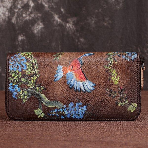 Натуральная Кожа Женщины Длинный Кошелек ID / Кредитные Карты Цветок Птицы Женский Наручные Сцепления Сотовый Телефон Сумки Сумки Handy Money Bag Wallet