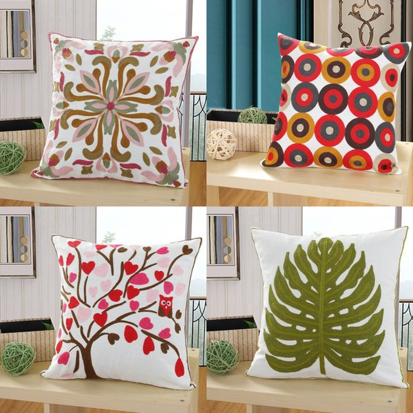 Flower embroidered sofa cushion cover cotton fabric throw pillow cover decorative pillow case for home hotel bedding decor