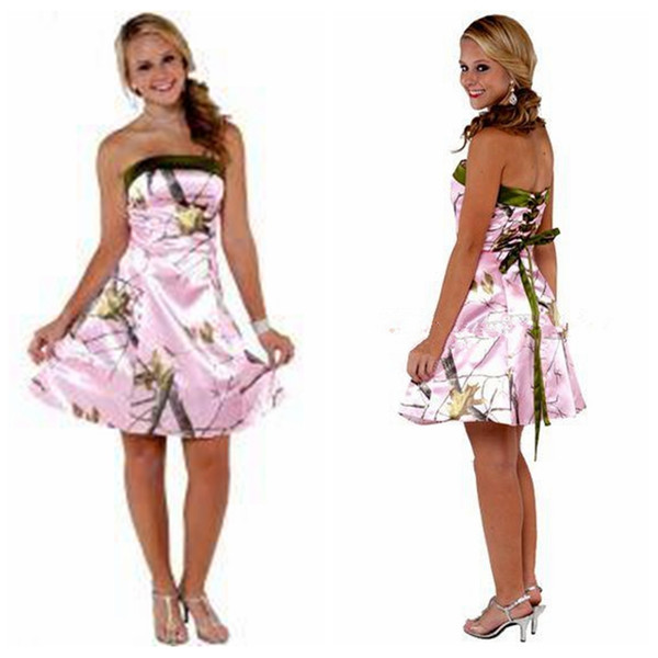 best selling Strapless A-Line Pink Camo Bridesmaids Dresses Short Knee-Length Camouflage Bridesmaid Party Gowns Cheap 2020 Young Girl Dress