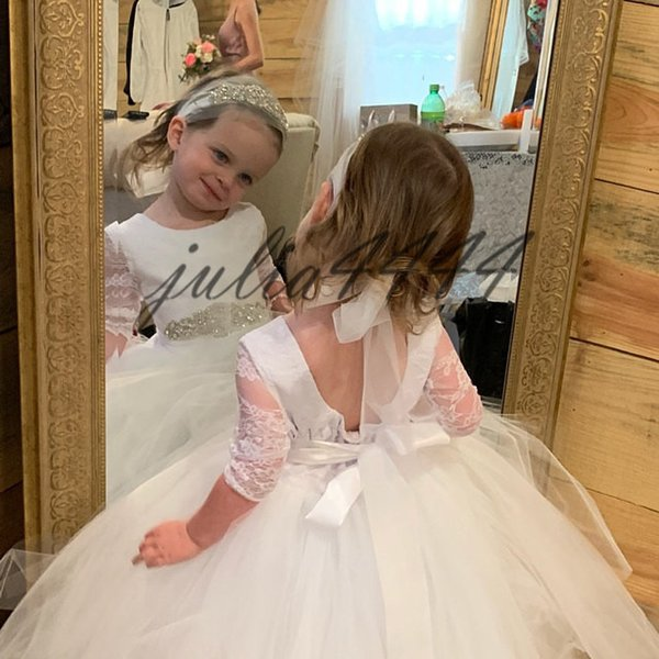 Tulle Pale White 2019 Ball Gown Flower Girls Dresses Long Illusion Sleeve Sweep Train Crystal Sash Birthday Party Pageant Bow Colorful