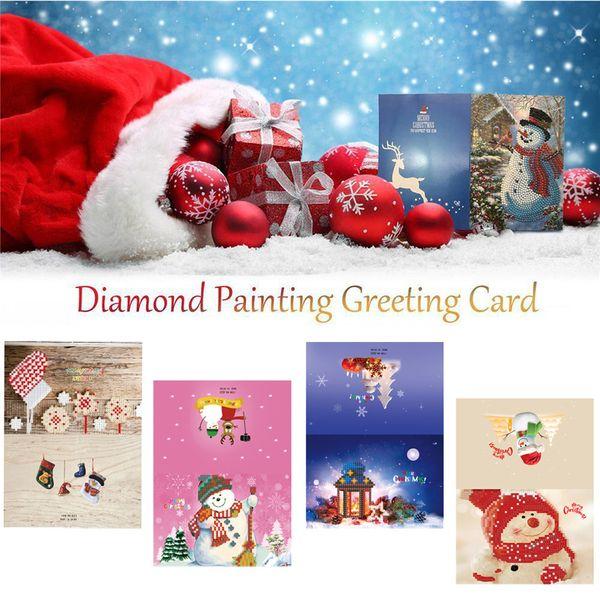 4Pcs/Set Christmas Gift Craft Card Diamond Snowflake Cartoon Painting Mini Snowman Merry Christmas Kids Gift