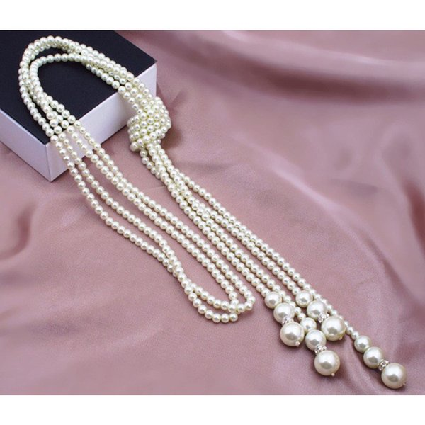 artificial pearls charming shopping party wear inlaid classcial knotting decorative multilayer fashion sweater chain