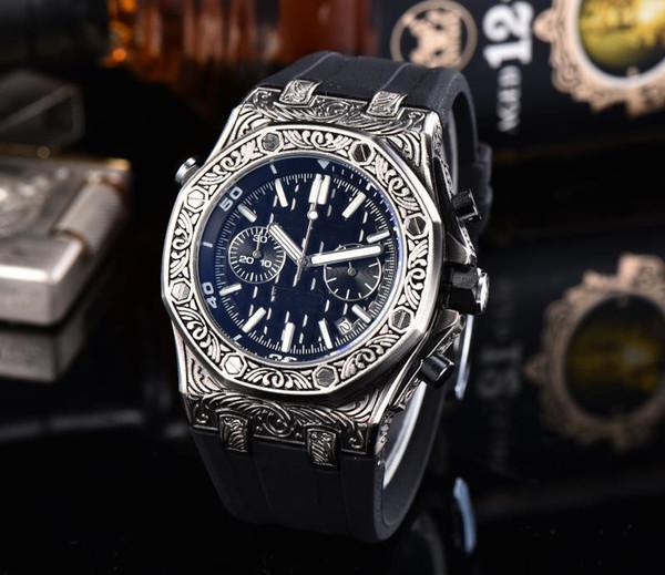 HotSale Luxury Herren Carved Uhren für braunes Kautschukband Herren Designeruhren Round iced out Uhrwerk Royal Oak Day Date Armbanduhr