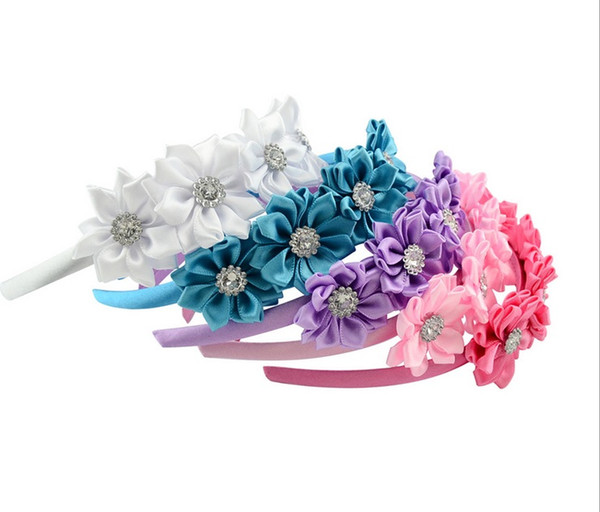 Baby Girls Fashion 5 inch Headband Ribbon with 4 small flower Covered Hairband Boutique Grosgrain Ribbon Flower Bow Headband A180