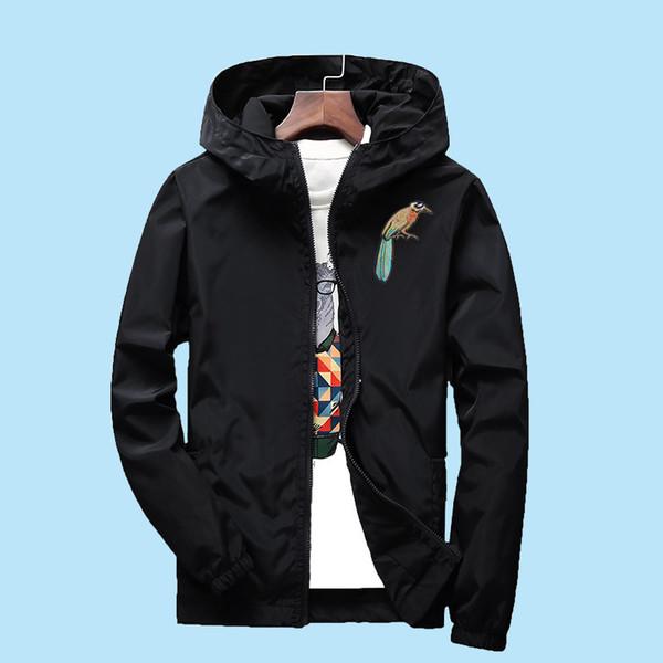 S до 7XL плюс размер мужчины женщины куртка весна осень вышитые птицы хип-хоп рэпер танцор DJ ветровка верхняя одежда с капюшоном пальто