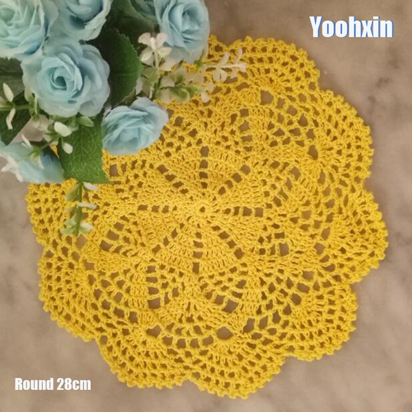 HOT Lace Round cotton table place mat dish pad Cloth crochet placemat cup mug wedding coaster handmade drink doily kitchen