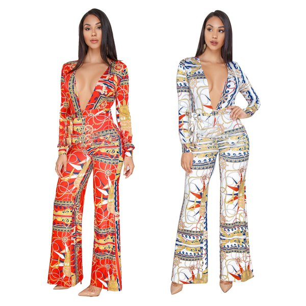 S-3XL Fashion Gold Chain Jumpsuits Print Plus Size Women Loose Deep V Neck Long Sleeve Rompers Wide Leg Pants Overalls