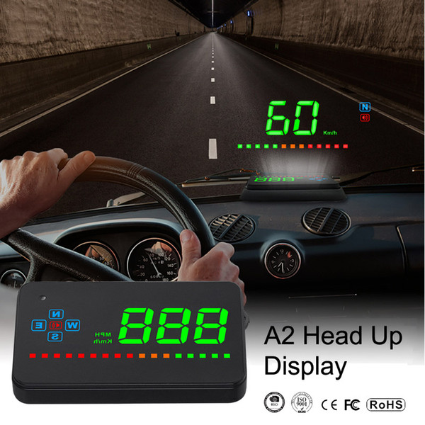 A2 Head Up Digital Display GPS Driving Direction Display 3.5 Inch Auto HUD Windshield Projector Electronics Smart Engine For All Cars