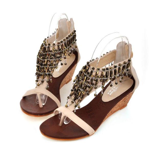 2019 Nouveau Noir Beige Chaussures De Mariée De Mariage Bohème Perlé Perle Sandales Sexy Femmes Thong Wedge Slope Rome Sandales