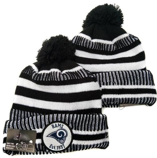 NEW Striped Sideline Rams Beanie LA Männer Frauen Sport Cuffed Winter stricken Hut Wolle Bonnet 100. Jahrestag Mützen Hip Hop-Schädel-Kappe