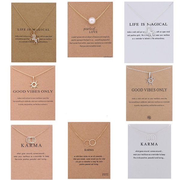Unicorn Pendant Necklaces Chokers Double Circle Sun Pearl Charms Choker Statement Necklace with Card for Women Girls Lucky Jewelry Gift