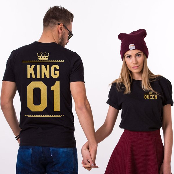 His-and-hers Clothes T-shirt King and Queen letter print Adult Short Sleeve Tops Causal Summer tees 6Colors 7Size