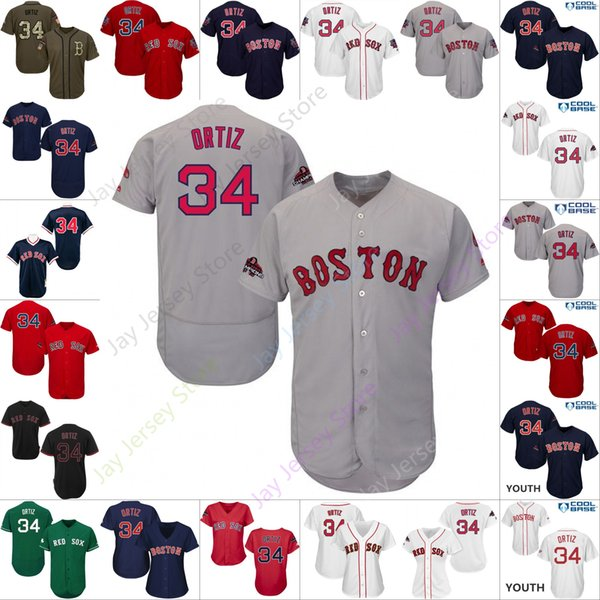 wholesale dealer 3b458 3b79a 2019 Custom Boston 34 David Ortiz Jersey Red Sox Jerseys Cool Base Flexbase  Home Away All Stitched White Black Red Grey Men Women Youth Cheap From ...