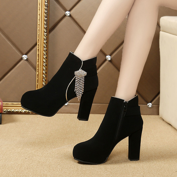 Winter Ladies Flat Chunky Heel Short Boots Womens Shoes Girls Shoe Ankle  Boot Cool Martin Boots Thick Heel Nubuck Leather Rhinestone Low Boots Cheap