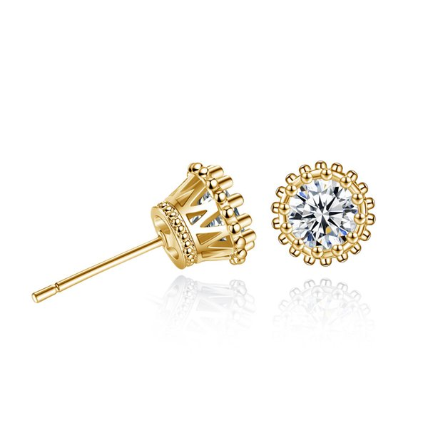 Gold Color Copper Crown Stud Earing 2Colors Round Cubic Zircon Earrings Fashion Jewelry for Women Gift Western Hot Earings Stud