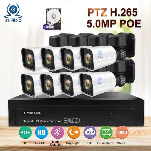 ZSVEDIO Surveillance IP Camera 8CH H.265 PTZ 5.0MP POE 4X Zoom NVR Kit CCTV System Full HD Video Security Set Night Vision DIY