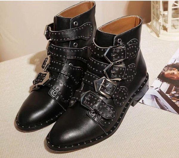 18ss Hot Sale Mulheres Motorcycle botas cor Jogo Marca Buckle Botas Ladies Outono de couro genuíno sapatos Europeu de alta qualidade Sapatinho