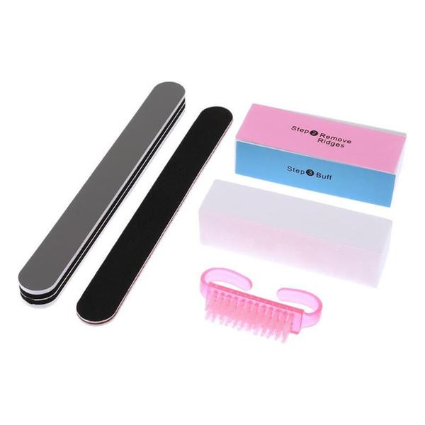 5pcs/set Nail Files Sponge Diamond Nail Buffer File Washable Polishing Brushes Home Salon Manicure