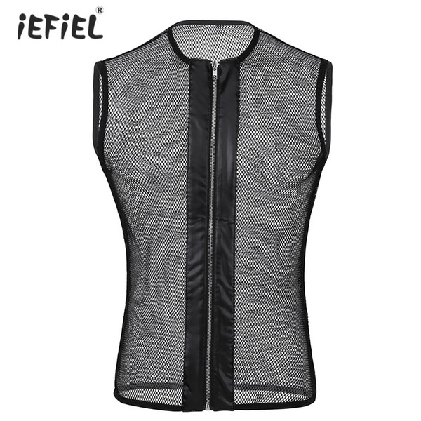 Sexy Mens Sleeveless See-through Mesh Fishnet Zipper Top T-Shirt Exotic Tanks Clubwear Slim Fit Stretchy Gay Fetish Tops T-shirt