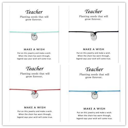 L'argento insegna al braccialetto regolabile di amicizia dei braccialetti dell'insegnante di Apple per il regalo degli uomini delle donne con la carta il migliore regalo per l'insegnante