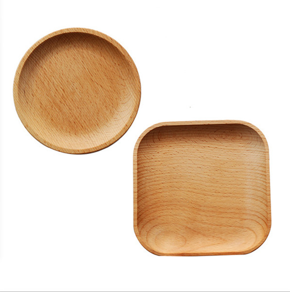 2019 Japanese Style Whole Wood Dishes Dessert Western Food Baking Kitchen  Supplies Fruit Round Square Plates Cup Holder From Littleko, $8.35 | ...