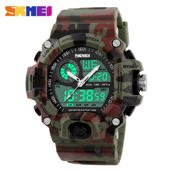 skmei brand sports watch men digital quartz led dual outdoor waterproof 50m multifunctional wristwatches relogio masculino, Slivery;brown