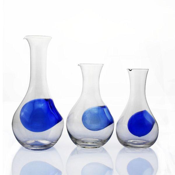 top popular Glass Sake Bottle with Hole Japanese Cold Liquor Carafe Cooler Decanter Ice Pocket Home Restaurant Server Blue Green 10oz 16oz 18oz 2021