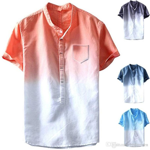 Градиент Конструктор Tshirts мужские с карманом с коротким рукавом Экипаж шеи мужские Tees Летней Mens одежды