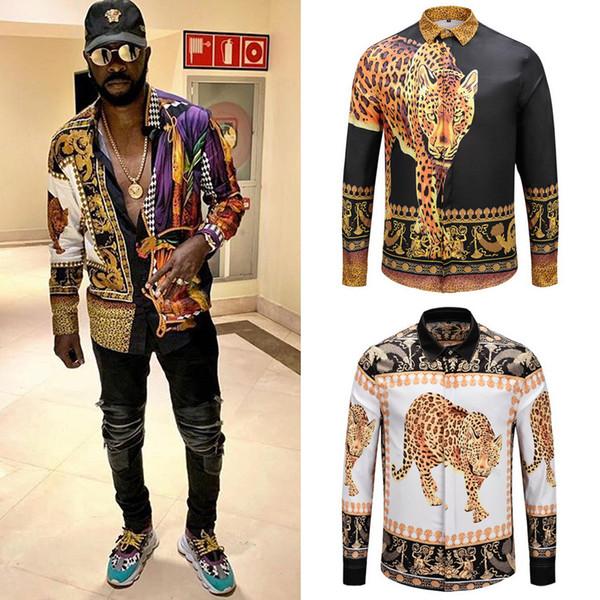 Taglie 1: 1 Tiger Printed 2019 S / S Camicia lunga in nylon Night Club Casual Fit Moda Camicie Uomo di buona qualità
