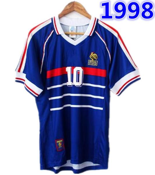 1998 FRANKREICH Weltmeister RETRO VINTAGE ZIDANE HENRY MAILLOT DE FOOT Thailand Qualitätsfußball-Trikots Uniformen Fußball Jerseys-Hemd