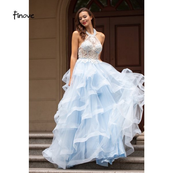 Finove Prom Dress 2019 Long Vestido De Fiesta Ruffles Skirt Cut Out  Embroidery Ball Gown Formal Prom Woman Party Dress Plus Size Prom Dresses  Under 50 ...