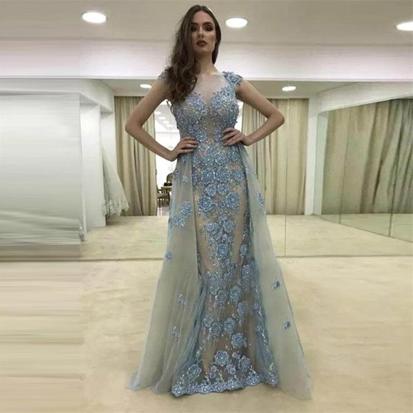 Evening Dress Long Mermaid with Train Glitter Beaded Crystal Lace 3d Flowers Women Formal Prom Evening Gown