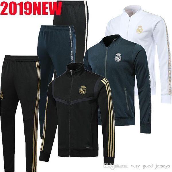 2020 traje de entrenamiento de fútbol Real Madrid Nueva cremallera completa chándal kit 19 20 RONALDO MODRIC BALA MARCELO ISCO de Real Madrid pantalón chaqueta de fútbol