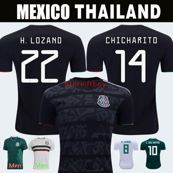 Mexico 2019 GOLD CUP Black KIT Fußball-Trikots 2018 World Cup Home Auswärts CHICHARITO Die neuesten Trends C.VELA H.LOZANO G.DOS SANTOS Shirts