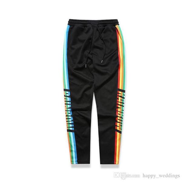 Erkek Pantolon Renkli Yan Patchwork Hip Hop Pantolon Erkekler Güzel Yeni Moda Elastik İpli Erkek Pantolon Siyah Mor Stokta