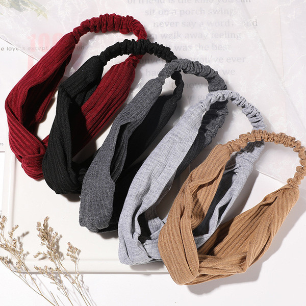 best selling New Women Solid Headband Turban Elastic Headwear Head Wrap Women Hair Accessories for Striped Hair Bands Gift