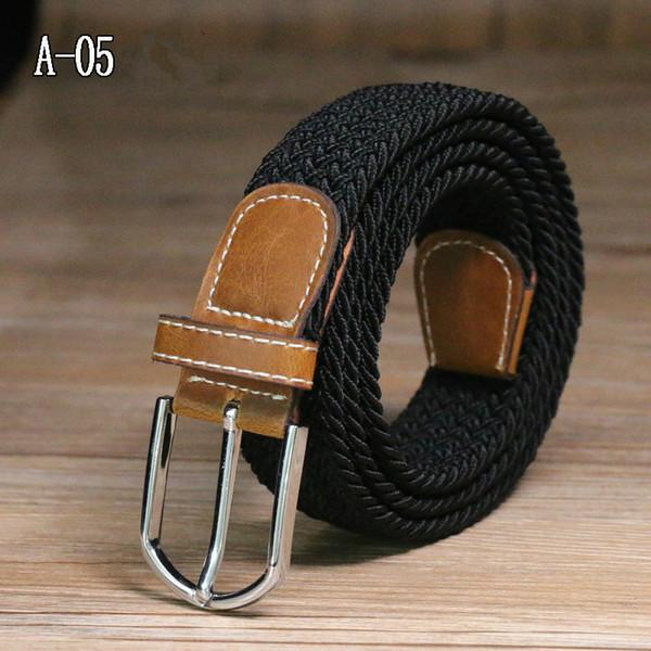 Uomo in pelle elastica Stretch cintura nera Tela Elasticizzato intrecciato tessuto elastico cinghia metallica larga calda per gli uomini