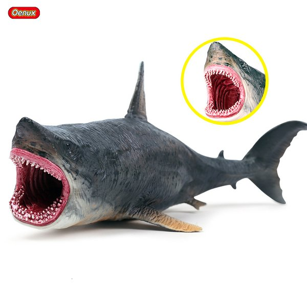 Oenux New Marine Sea Life Savage Megalodon Action Figure Ocean Animals Big Shark Model Collection Toy For Kids Birthday Gift SH190911